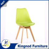 PP Plastic Chair with Cushion and Wooden Legs