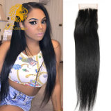 7A Brazilian Straight Hair 4X4 Swiss Lace Closure Brazilian Virgin Hair Straight Human Hair Middle/Free/3 Part Top Lace Closure