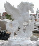 Carved White Marble Pegasus for Garden Decoration