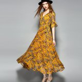 Fashion Floral Flare Sleeve Women Maxi Dress with Belt