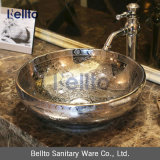 Handmade Silvery Wash Basin with Antique Design (C-1019)