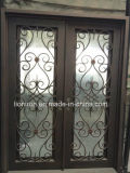 Flat Top Wrought Iron Double Entry Doors French Doors