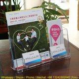 Transparent Plexiglass Acrylic Pocket Brochure Display Bookshelf