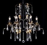 Traditional Metal Chandelier with Leaves and Crystals