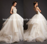 Sheer Neckline Gold Lace Bodice Bridal Wedding Ball Gown H141015