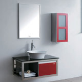 Melamine Combination Big Red Glossy Painting Bathroom Cabinet