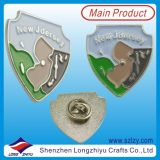 Custom Map Design Metal Badge Pins with Silver Plated in Good Quality