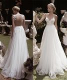 Spaghetti Tulle Party Formal Gown Beach Country Travel Wedding Dress H037