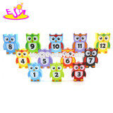 Wholesale Customize 12 PCS Educational Blocks Wooden Stacking Owls for Kids W13A145