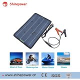 12 Volts 10 Watts Portable Power Solar Panel Battery Charger Backup for Car Boat with Alligator Clip Adapter