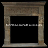 White Marble Antique Finish Fireplace FRP552