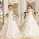 3/4 Sleeves Bridal Ball Gowns Custom Lace Wedding Dress Wd80