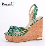 Lady Snake Pattern Women Cork High Heels Wedge Sandals Shoes