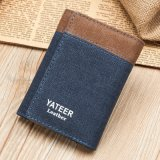 Washed Canvas with Oil Waxed and Top Canvas Mend Slim Wallet