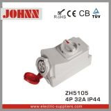 IP44 4p 32A Industrial Socket with Switches and Mechanical Interlock