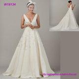 High Quality Deep V-Neck Elegant Chiffon Wedding Dress Embroidery Bridal Dress