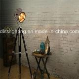 Vintage Wood&Steel Spotlight Shape Tripod Standing Floor Lamp for Interior Decoration