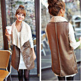 Womens Warm Winter PU Leather+Faux Fur Liner Vest Waistcoat Jacket