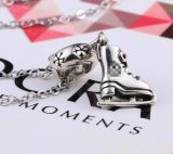 925 Sterling Silver Skating Shoe Necklace Pendant