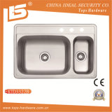 Double Bowl Stainless Steel Sink of Ktd3322b, Industrial Double Sink