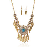 Fashion Exaggerated Alloy Retro Multilayer Tassel Necklace Earring Costume Jewelry Set