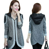 Women′s Casual Patch Decorate Knit Trench Coat Jacket High-Class (50201)