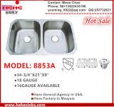 50/50 Double Bowl Kitchen Sink, Wash Baisn 8853A