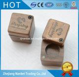 Custom Logo Small Walnut Wooden Ring Gift Box