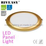 Electroplated Aluminum 5W Gold LED Panel Light