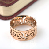 Women Fashion Stainless Steel Jewelry 18k Rose Gold Flower Ring