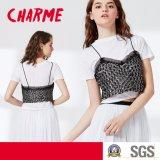 Ladies Two Pieces Set T-Shirt with Lingerie Sequin Condole Belt Vest Blouse