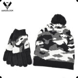 Men′s Winter Military Camouflage Jacquard Knit Hat and Glove