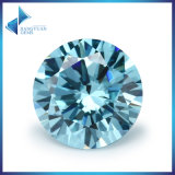 8 Heart & 8 Arrow Cuting Aquamarine Round Cubic Zircon