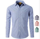 Men′s Business Casual Cotton Long Sleeve Oxford Slim Fit Plain Shirt with Pocket