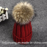 Real Raccoon Fur Ball Knitted Winter Beanie Hat