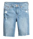 Ladies Cotton/Poly/Lcy 10oz Long Denim Shorts