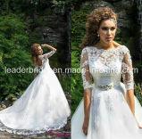 Lace Wedding Gowns Lace 3/4 Sleeves Wedding Dresses Vestido De Noiva W14905