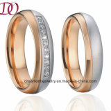 Bicolor Rose Gold and White Color Stainless Steel Wedding Band Couple Rings Pair