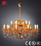 New Crystal Chandelier with Amber Glass Decoration