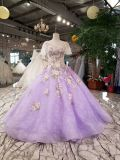 Light Purple Shawl Floor Length Black Beads Over Lace Evening Gown