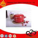 High Quality Non-Stick Enamel Casserole with Colorful Decor Cover