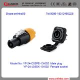 Cnlinko Brand 3 Pin Cable Female Connector with Lock Wing Power DC Jack with Spring Push Fit Connector