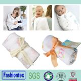 """Gots Certified Fabric Babay Muslin Square 47""""X47"""" White Cotton Swaddle Blanket"""