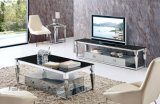 Modern Black Glass Top Rectangle Stainless Steel Coffee Table