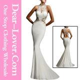 White Open Back Fine Flowers Wedding Bridal Evening Gown Dress