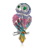 Imitation Jewelry Owl Design Animal White Gold Plated Crystal Brooch