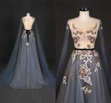 Embroidery Blue Patterns of Lace Evening Party Dress Wt337