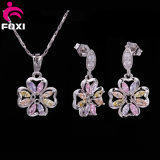 Fashion Ladies Stud Earring and Necklace Costume Copper Jewelry Set