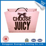 Pink Color Paper Gift Bag with Ribbon Decoration