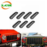Black Front Grille Grill Mesh Insert Kit for Jeep Wrangler Rubicon Sahara Jk 2007-2016 7 Pieces